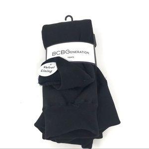 BCBGeneration | Women's Black Velvet Lined Tights